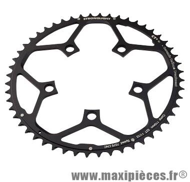 Plateau 52 dents route diamètre 110 extérieur noir ct2 téflon ceramic 11/10v. marque Stronglight - Pièce Vélo