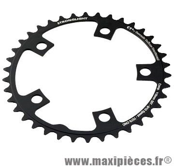 Plateau 38 dents route diamètre 110 intérieur noir ct2 téflon ceramic 11/10v. marque Stronglight - Pièce Vélo