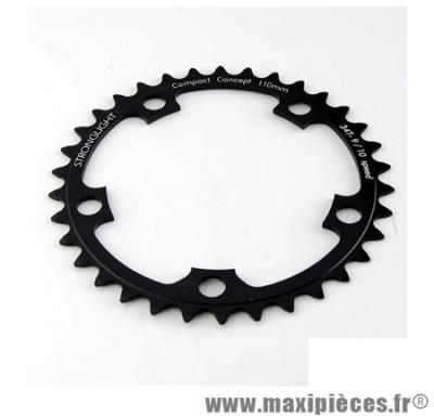 Plateau 42 dents route diamètre 110 intérieur noir dural 10/9v. marque Stronglight - Pièce Vélo