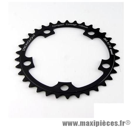 Plateau 39 dents route diamètre 110 intérieur noir dural 10/9v. marque Stronglight - Pièce Vélo