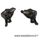 Paire de manettes de vitesses VTT Microshift 9x3v. compatible Shimano push-pull en alu noir + poignées noires *Prix spécial !