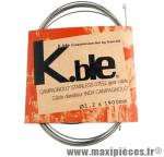 Cable dérailleur inox type 1.90m (vendu par boite de 25) kble/tr marque Kble- Pièce Vélo
