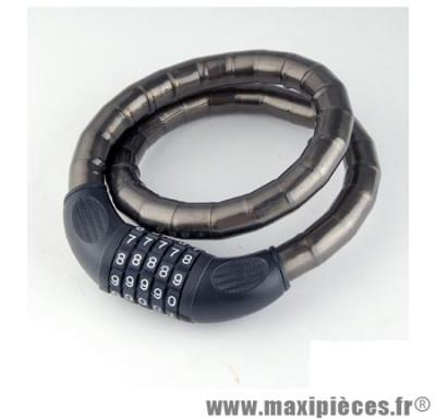 Antivol vélo cable renforce a code d18 x 0.80m noir - Accessoire Vélo Pas Cher