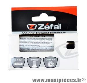 Cartouche co2 16 grammes filète (blister de 2) marque Zéfal - Matériel pour Cycle *Prix spécial !