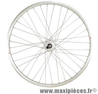 Roue VTC 28 pouces avant moyeu dynamo 6 volt jante argent mx m240 double paroie 36t marque Shimano - Matériel pour Vélo
