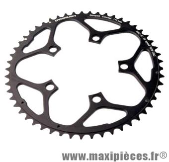Plateau 53 dents route diamètre 110 extérieur noir zicral 10/9v. marque Stronglight - Pièce Vélo