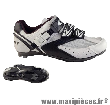 Chaussure route blanc/noir t39 corsa 2 velcros + clic (paire) marque GES