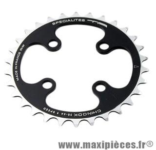 Plateau 30 dents VTT triple diam 64 int noir 4 branches chinook (lx,deore,xt) 9v marque Spécialités TA - Matériel pour Vélo