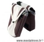 Prix spécial ! Sacoche potence velcro beige porte bidon double + 2 rangements marque Atoo - Matériel pour Vélo