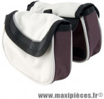 Sacoche potence velcro beige 2 poches + 1 zippee marque Atoo - Matériel pour Vélo