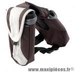 Sacoche potence velcro beige porte bidon double + poche portable marque Atoo - Matériel pour Vélo