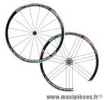 Roue route 700 (paire) scirocco noir 11/10/9v. a pneu marque Campagnolo - Pièce Vélo