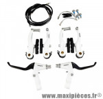 Etrier de frein VTT v-brake av+ar alu blanc (levier, étrier...) (coffret) - Accessoire Vélo Pas Cher