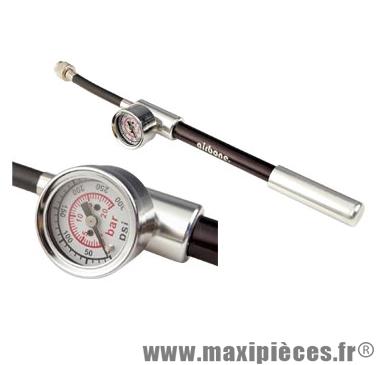 Pompe pour amortisseur et fourche suspension alu/noire avec mano 20 ba - Accessoire Vélo Pas Cher