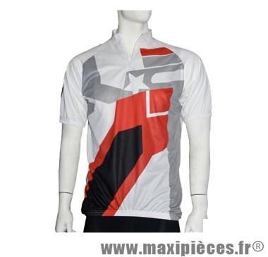 Maillot mc top cool blanc/rouge/gris (taille S) marque No Contest - Accessoire Vélo