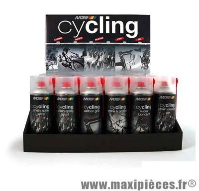 Display cycling x24 aérosol 400ml complet marque Motip - Entretien Vélo