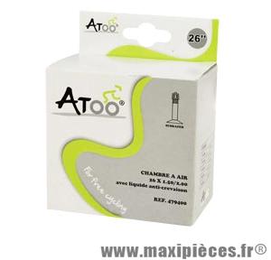 Chambre à air de VTT 26x1.5/2.00 vs avec liquide anti-crevaison marque Atoo - Matériel pour Vélo