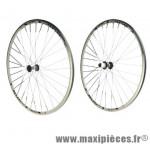 Roue route 700 (paire) omega blanche bos+ moy. reflex noire k7 shimano 8/9/10/11v. - Accessoire Vélo Pas Cher