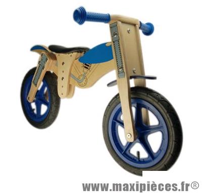 Vélo sans pédale en bois, draisienne - style moto - bleu pour enfant des 20 mois a 4 ans