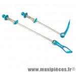 Blocage rapide alu bleu 65 gr. (paire) - Accessoire Vélo Pas Cher