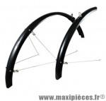 Garde boue VTC 28 pouces noir 4 tringles réglables (paire) marque No Contest - Accessoire Vélo