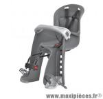 Porte bébé avant bilby gris fonce coussin gris (fix. centrale sur cadre) <15kgs marque Polisport - Pièce Vélo