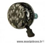 Sonnette design noire/argent d55mm - Accessoire Vélo Pas Cher