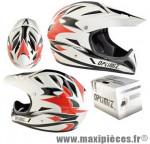 Casque BMX intégral race blanc/rouge/noir xl (61/62) marque Optimiz - Matériel pour Vélo