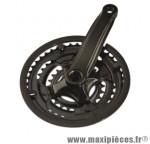 Déstockage ! Pédalier VTT 7/8v. Prowheel en acier 28/38/48 + carter (axe carré)
