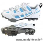 Chaussure VTT femme sky blanc/bleu t38 3 velcros (paire) marque GES