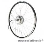Roue vélo électrique 26 pouces avant t210 noire axe plein double paroi (37v/250w) marque Torpado - Pièce Vélo