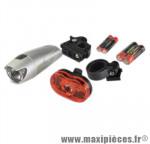Eclairage vélo pile av+ar leds 3 fonctions avant torche + arrière 3 leds marque No Contest - Accessoire Vélo