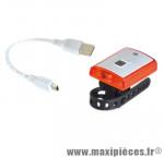 Eclairage vélo recharg. arrière blanc 3 led rouge 2 mod. fix. strap (usb) marque Marwi - Pièce Vélo