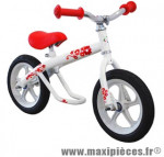 Vélo sans pédale draisienne style BMX josie blanc/rouge fillette roue 12 pouces - Accessoire Vélo Pas Cher - Draisienne pour enfant