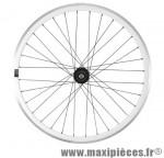 Roue vélo fixie 700 blanc arrière axe plein moyeu noir flip/flop 32 avec pignon 16 dents - Accessoire Vélo Pas Cher