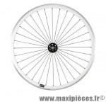 Roue vélo fixie 700 blanc avant axe plein moyeu noir 36 (taille M)arque - Accessoire Vélo Pas Cher