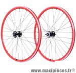 Roue vélo fixie 700 rouge arrière axe plein moyeu noir flip/flop 36 (taille M)arque - Accessoire Vélo Pas Cher