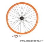 Roue vélo fixie 700 orange arrière axe plein moyeu noir flip/flop 36 (taille M)arque - Accessoire Vélo Pas Cher