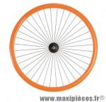 Roue vélo fixie 700 orange avant axe plein moyeu noir 36 (taille M)arque - Accessoire Vélo Pas Cher