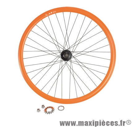 roue v lo fixie 700 orange arri re axe plein moyeu noir flip flop 36 taille m arque. Black Bedroom Furniture Sets. Home Design Ideas
