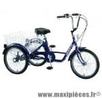 Vélo tricycle adulte 20 pouces bleu 5 vitesses avec panier arrière - Accessoire Vélo Pas Cher - Autres vélos complet