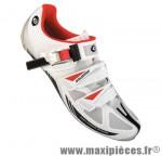 Chaussure route sr473 t45 blanc/rouge 2 velcros + clic semelle carbone (paire) marque Exustar pour cycliste
