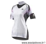 Maillot blanc/rose/noir mc (taille XL) fermeture invisible poche zip marque Exustar
