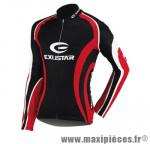 Maillot noir/rouge/blanc ml (taille S) poche zip marque Exustar