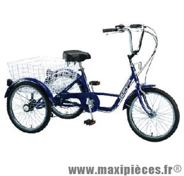 v lo tricycle adulte 20 pouces bleu 5 vitesses avec panier arri re accessoire v lo pas cher. Black Bedroom Furniture Sets. Home Design Ideas