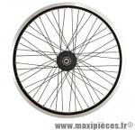 Roue vélo BMX 20 pouces avant axe 10mm moyeu roulement annulaire 48t jante noire dble paroi - Accessoire Vélo Pas Cher