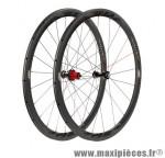 Roue route 700 (paire) fir carbone r1 boyau noire k7 shim 9/10/11v jante 38mm 1280 grammes - Accessoire Vélo Pas Cher