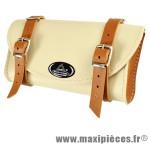 Sacoche selle imitation cuir vintage crème/marron - Accessoire Vélo Pas Cher