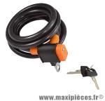 Antivol vélo spiral a clé d12 x 0.65m noir/orange avec support marque Rangers - Antivol Vélo