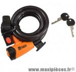 Antivol vélo spiral a clé d12 x 1.80m noir/orange avec support marque Rangers - Antivol Vélo